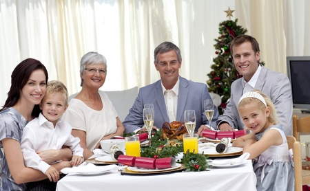 Family celebrating Christmas dinner  photo