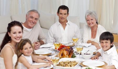 family dinner: Family having a dinner together at home