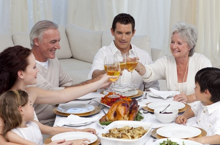 Family tusting with wine in a dinner photo