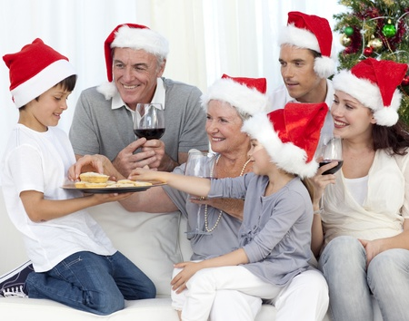 Smiling family at Christmas time photo