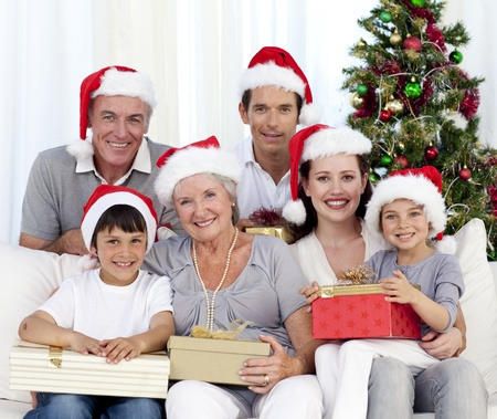 Laughing family at Christmas time photo