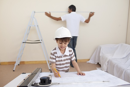 Father and son refurbishing home photo