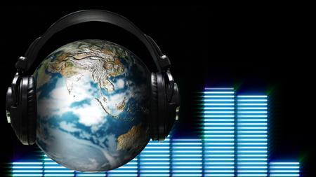 Ear Phones and ear Piece around a Globe photo