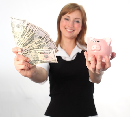 a woman saving her dollars  photo