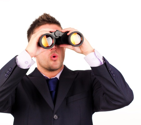 man looking through binoculars surprise photo