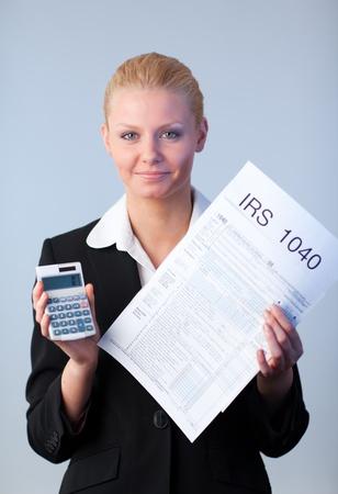 Filling in tax returns photo