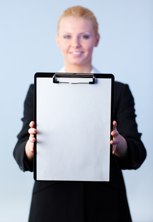 businesswoman holding a clipboard Stock Photo - 10258310