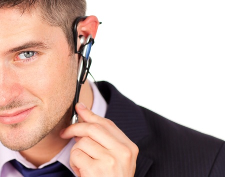 man on headset looking at the camera  photo