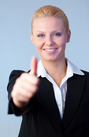 Businesswoman with thumbs up Stock Photo - 10258589