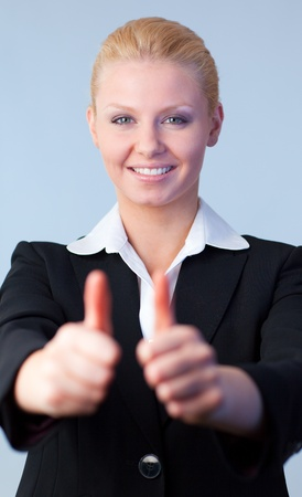 Businesswoman with thumbs up Stock Photo - 10255531