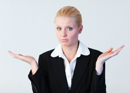 Young Confused businesswoman Stock Photo - 10243236