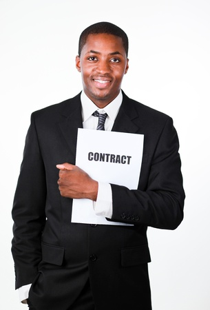 subscribing: Happy businessman holding a contract