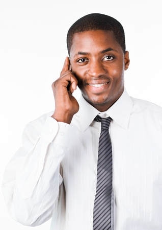 Close-up of an friendly businessman speaking on a mobile Stock Photo - 10234306