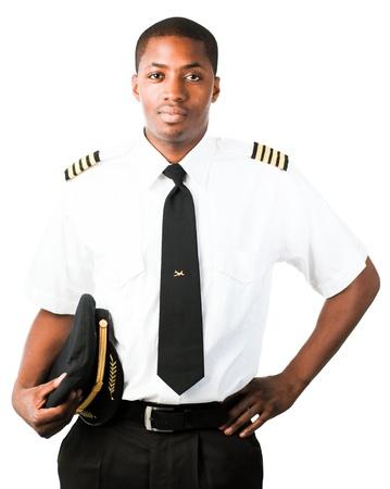 piloto de avion: Piloto joven aislado en blanco