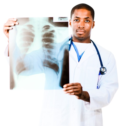 Doctor looking at an x-ray photo
