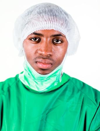 swine flue: Senior Surgeon in Green scrubs Stock Photo
