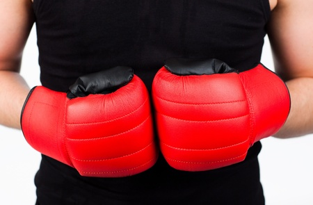 young man wearing boxing gloves photo