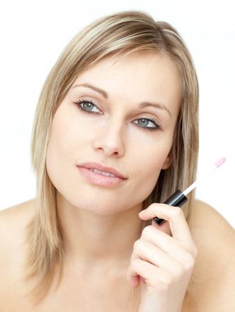 Portrait of a beautiful woman holding a gloss Stock Photo - 10247968