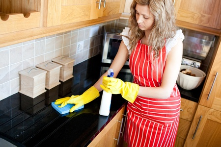 house clean: Charming woman doing housework Stock Photo