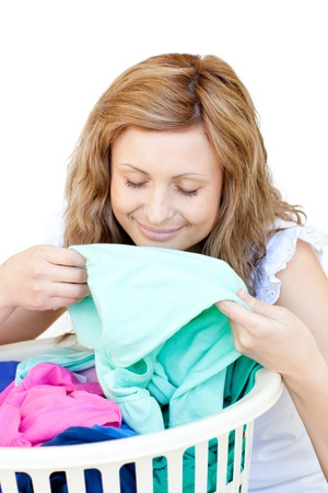 Charming woman doing laundry  photo