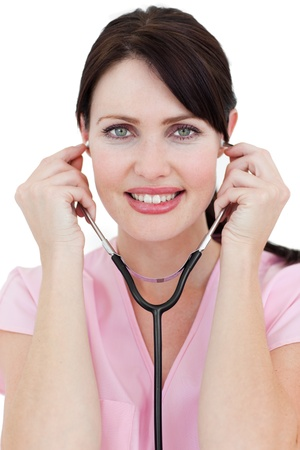 Confident female doctor holding a stethoscope Stock Photo - 10247659