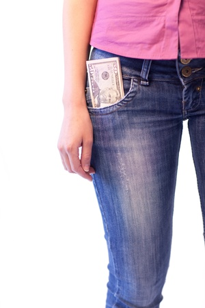 Woman with Dollars in her pocket Stock Photo - 10248675