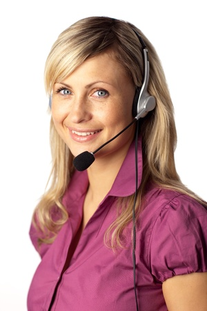 Young business woman talking on a headset photo