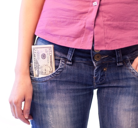 Woman with Dollars in her pocket Stock Photo - 10248848