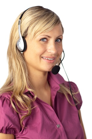 Young business woman talking on a headset Stock Photo - 10249951