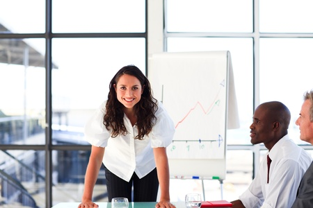 Confident businesswoman in a presentation Stock Photo - 10249410