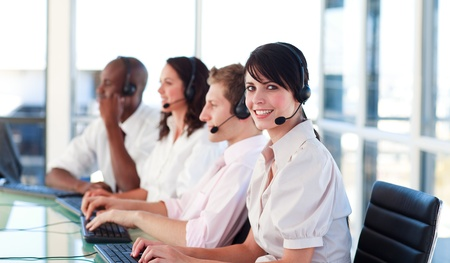 Business employees in a call center photo