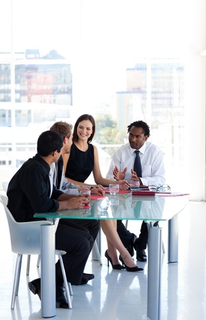 negotiation business: Business team working together in office with copy-space