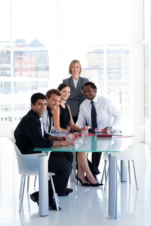 Business team working together in office photo