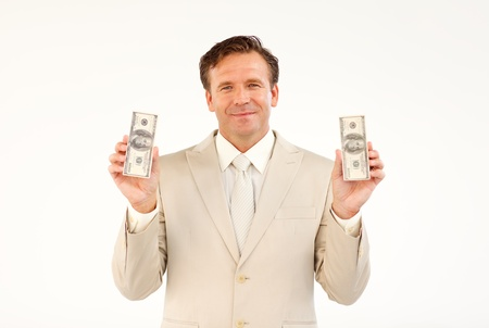 Handsome businessman holding money  photo