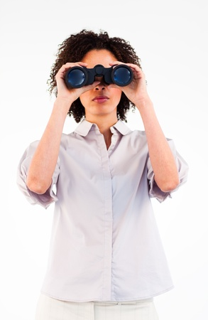 Young Afro-American businesswoman using binoculars Stock Photo - 10247824