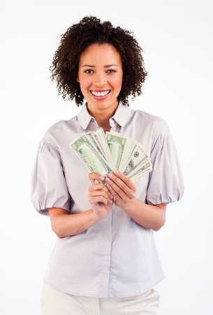 black money: Smiling Afro-American businesswoman showing dollars