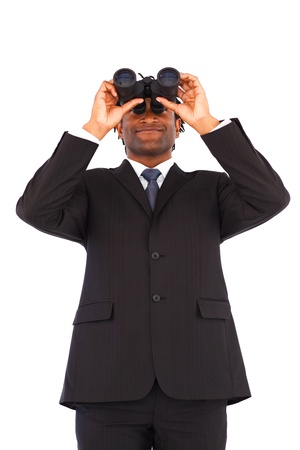 Beautiful afro-american businessman manager using binoculars  photo