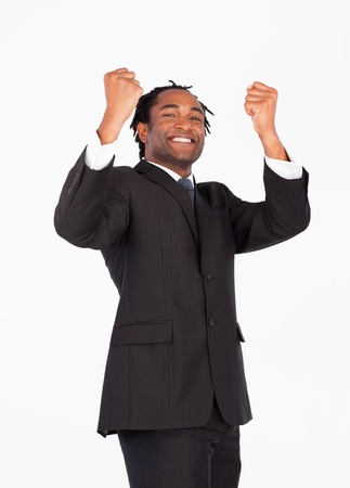 Successful businessman with raised arms Stock Photo - 10247914
