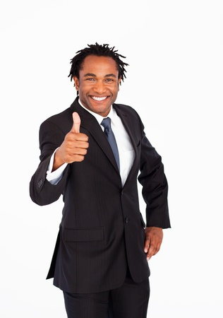 Portrait of businessman with thumb up photo