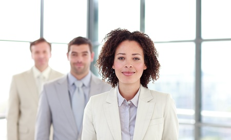 African-American young businesswoman in a line Stock Photo - 10249303
