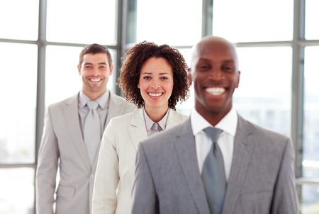 Smiling businesswoman in a line photo