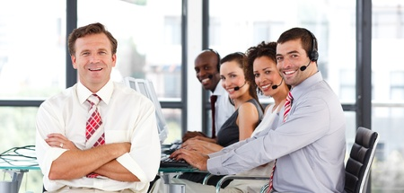 sales lady: Business team working in a call center