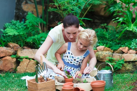 Mother and daughter gardening Stock Photo - 10250030