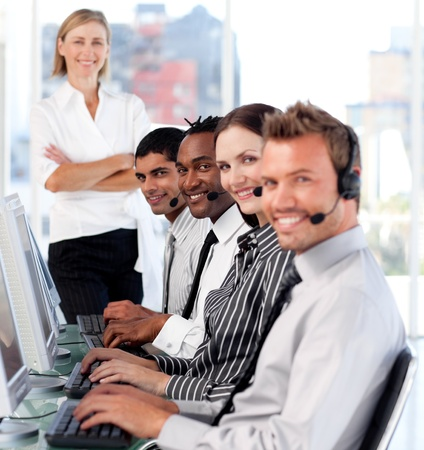 Business team in a call center photo