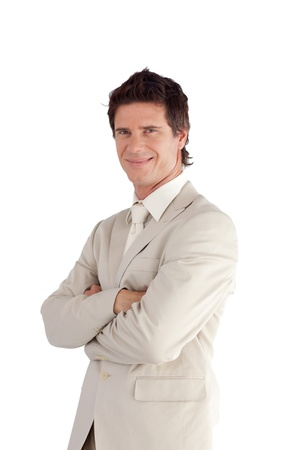 Cheerful businessman against a white background photo