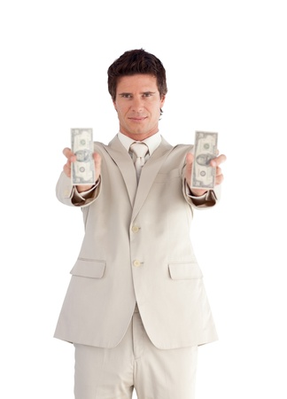 Bright businessman showing dollars photo