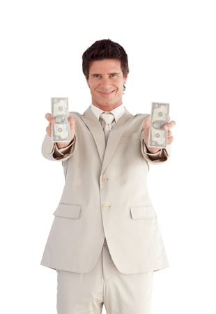 Radiant businessman showing dollars photo