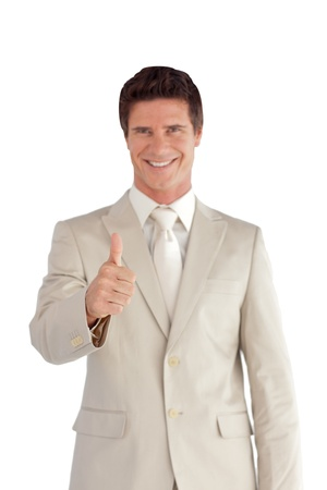 thumbup: Confident businessman doing a thumb-up