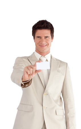 Confident businessman standing at the camera photo