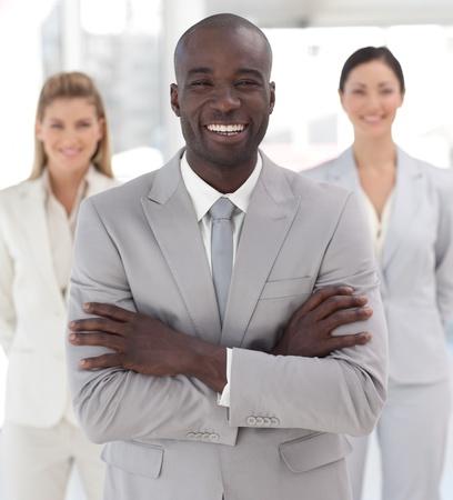 Business team met Spirit en het uiten van Positiviteit